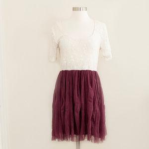 Altar'd State Ivory & Purple Crinkle Mesh Dress M